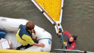Entenrennen 2019: Außenreporter Jan Erik auf dem Wasser